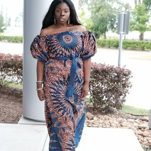 Women African print full length maxi dress
